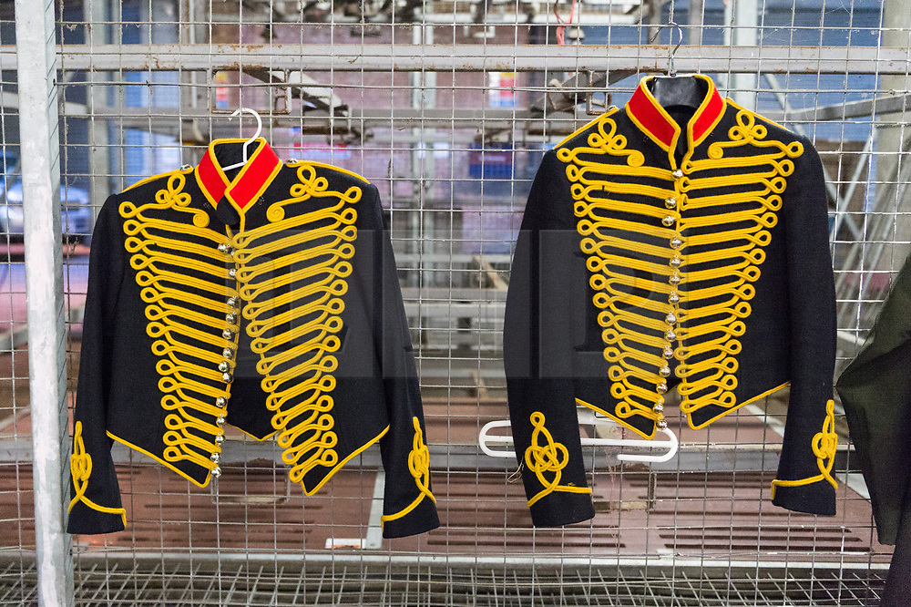 © Licensed to London News Pictures. 06/02/2018. London, UK. Uniforms on display  in temporary stables in Wellington Barrack. The KIng's Troop Royal Horse Artillery will ride with horses and gun carriages taking part in a 41 gun salute to mark the anniversary of the Accession of Her Majesty The Queen.  Photo credit: Ray Tang/LNP