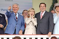"""13 JUL 2003, DAHLWITZ-HOPPEGARTEN/GERMANY:<br /> Manfred Stolpe, SPD, Bundesverkehrsminister, Gerhard Schroeder, SPD, Bundeskanzler, und Doris Schroeder-Koepf, Kanzlergattin, (v.L.n.R.), waehrend einem Zieleinlauf, Besuch des  Galopprennens """"Grosser Porsche-Preis von Deutchland"""", Galopprennbahn Hoppegarten <br /> IMAGE: 20030713-01-051<br /> KEYWORDS: Gerhard Schröder, Doris Schröder-Köpf, Doris Schroeder, Doris Schöder, Pferderennen"""