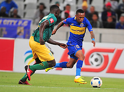 Cape Town--180401  Cape Town City midfielder Bradley Ralani  challenged by Limbikani Mzava   of Golden Arrows in a PSL game at the Cape Town Stadium. .Photographer;Phando Jikelo/African News Agency/ANA