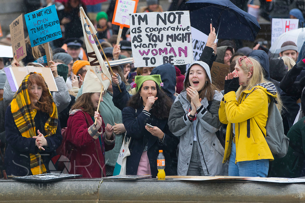 UNITED KINGDOM, London: 04 March 2018 Women shout their support as they join thousands of supporters in Trafalgar Square during the #March4Women rally in London this afternoon. Thousands of people marched from Parliament to Trafalgar Square to celebrate International Women's Day and 100 years since the first women in the UK gained the right to vote. <br /> Rick Findler / Story Picture Agency