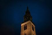 November evening, rooks circle the steeple of St. Marienkirche, the Lutheran Saint Mary's Church, the oldest church in Berlin, Karl-Liebknecht-Strasse, Berlin.