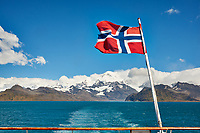 Norwegian Flag on the Aft Deck of the MS Fram as we Departed Grytviken, South Georgia. Image taken with a Fuji X-T1 camera and 23 mm f/1.4 lens (ISO 200, 23 mm, f/16, 1/125 sec).