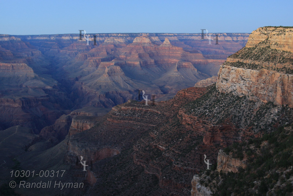 Dusk settles across Grand Canyon; Grand Canyon Village, South Rim, Grand Canyon National Park, Arizona.