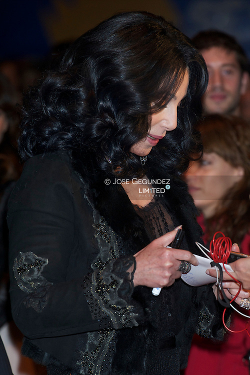 Cher attends 'Burlesque' premiere at Callao cinema on December 9, 2010 in Madrid, Spain.