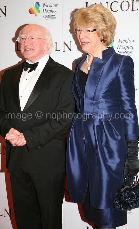 Irish President Michael D Higgins and his wife Sabina Coyne at the Lincoln film premiere Savoy Cinema in Dublin, Ireland. Sunday 20th January 2013.