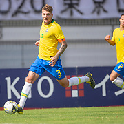 TOULON, FRANCE June 15.  Lyanco #3 of Brazil in action during the Brazil U22 V Japan U22 Final match at the Tournoi Maurice Revello at Stade D'Honneur on June 15th 2019 in Toulon, Provence, France. (Photo by Tim Clayton/Corbis via Getty Images)