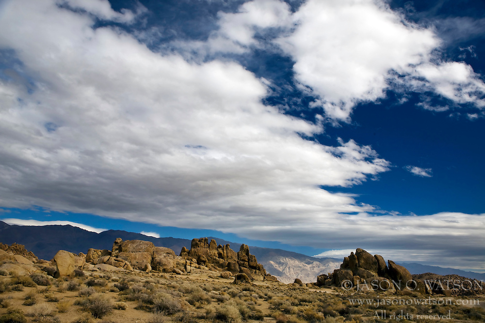 Landscape with white clouds and blue sky, Alabama Hills Recreation Lands, Lone Pine, California