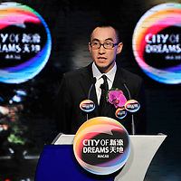 MACAU, CHINA - JUNE 01:  CEO of 'City of Dreams' casino Lawrence Ho attends a news conference at the opening of businessman James Packer and Ho's 'City of Dreams' casino on June 1, 2009 in Cotai, Macau. The new 420,000 square foot casino, built on marshland 9km from Macao's traditional casino district but over the road from the world's largest casino 'Sands Venetian Macao', hopes to lure customers to the new casino area. 'City of Dreams' will offer over 500 gambling tables alongside its 3 hotels, a shopping mall and digital fish which swim in an electronic aquarium know as 'The Bubble'.  Photo by Victor Fraile / studioEAST