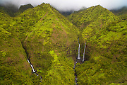 Hanalei twin Waterfall, Kauai, Hawaii
