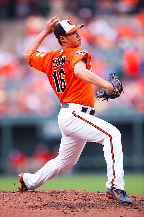 BALTIMORE, MD - MAY 26: Wei-Yin Chen #16 of the Baltimore Orioles pitches during the game against the Kansas City Royals at Oriole Park at Camden Yards on May 26, 2012 in Baltimore, Maryland. (Photo by Rob Tringali) *** Local Caption *** Wei-Yin Chen