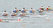 Hamilton, NEW ZEALAND. ITA M4-  Moving away from the start pontoon in their men's four repechage at the. crew  2010 World Rowing Championships, Lake Karapiro. crew  Wednesday - 03.11.2010, [Mandatory Credit Peter Spurrier:Intersport Images].