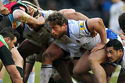 New Bath Rugby signing Max Lahiff prepares to scrummage against his opposite number  - Photo mandatory by-line: Patrick Khachfe/JMP - Mobile: 07966 386802 31/01/2015 - SPORT - RUGBY UNION - London - The Twickenham Stoop - Harlequins v Bath Rugby - LV= Cup