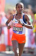 Tadelech Bekele (ETH) places third in the women's race in 2:21:40 in the London Marathon in London, Sunday, April 22, 2018. (Jiro Mochizuki/Image of Sport)