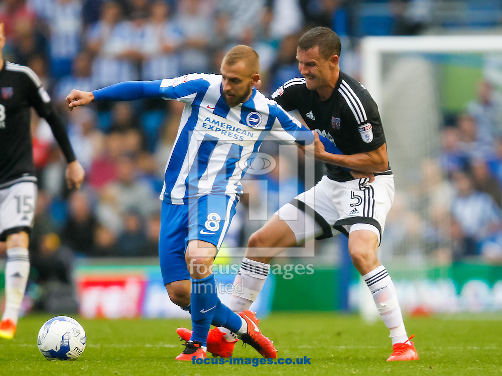 Jiř&iacute; Skal&aacute;k of Brighton and Hove Albion and Andreas Bjelland of Brentford during the Sky Bet Championship match between Brighton and Hove Albion and Brentford at the American Express Community Stadium, Brighton and Hove<br /> Picture by Mark D Fuller/Focus Images Ltd +44 7774 216216<br /> 10/09/2016