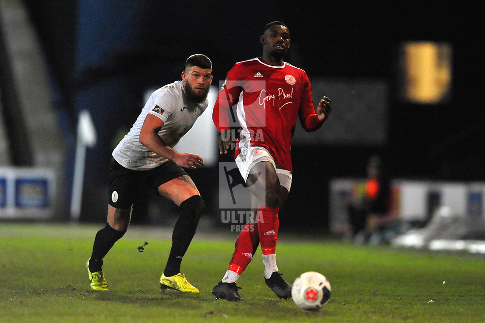 TELFORD COPYRIGHT MIKE SHERIDAN Shane Sutton of Telford and Lee Ndlovu of Brackley during the Vanarama Conference North fixture between AFC Telford United and Brackley Town at the New Bucks Head on Saturday, January 4, 2020.<br /> <br /> Picture credit: Mike Sheridan/Ultrapress<br /> <br /> MS201920-039