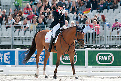 Sophie Christiansen riding Janeiro 6 in the Grade 1a Para-Dressage at the 2014 World Equestrian Games, Caen, Normandy, France.