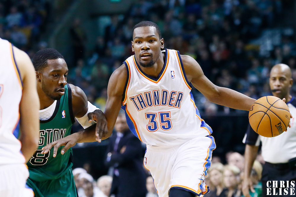 23 November 2012: Oklahoma City Thunder small forward Kevin Durant (35) drives past Boston Celtics power forward Jeff Green (8) during the Boston Celtics 108-100 victory over the Oklahoma City Thunder at the TD Garden, Boston, Massachusetts, USA.