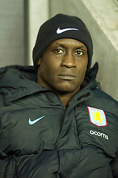 WIGAN, ENGLAND - Tuesday, March 16, 2010: Aston Villa's Emile Heskey on the bench as a substitute before the Premiership match against Wigan Athletic at the DW Stadium. (Photo by David Rawcliffe/Propaganda)