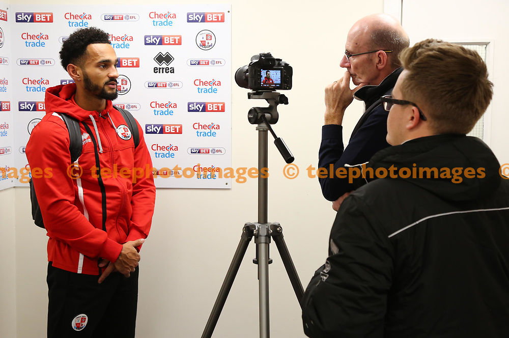 Crawley's Jordan Roberts  is interviewed by the media team during the Sky Bet League 2 match between Crawley Town and Exeter City at the Checkatrade Stadium in Crawley. 21 Nov 2017<br /> *** NO SOCIAL MEDIA ***