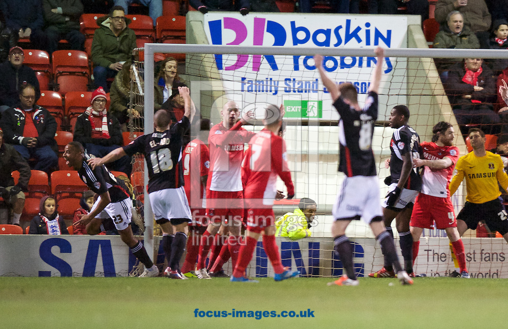 Tyrone Barnett (23) of Bristol City celebrates scoring to make it 0-2 during the Sky Bet League 1 match at the Matchroom Stadium, London<br /> Picture by Alan Stanford/Focus Images Ltd +44 7915 056117<br /> 11/02/2014