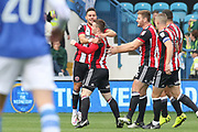 Sheffield United midfielder John Fleck (4) celebrates his goal during the EFL Sky Bet Championship match between Sheffield Wednesday and Sheffield Utd at Hillsborough, Sheffield, England on 24 September 2017. Photo by Phil Duncan.