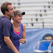 August 23, 2014, New Haven, CT:<br /> Jacqueline Cako and Joel Kielbowicz celebrate after defeating Ena and Shuhei Shibahara in the US Open National Playoffs mixed doubles finals on day nine of the 2014 Connecticut Open at the Yale University Tennis Center in New Haven, Connecticut Saturday, August 23, 2014.<br /> (Photo by Billie Weiss/Connecticut Open)