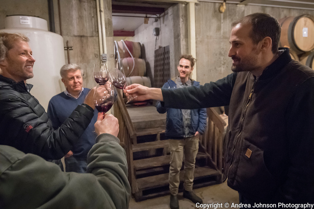 Barrel tasting, Cristom Vineyards, Eola-Amity Hills AVA, Willlamette Valley, Oregon