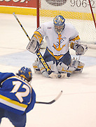 Lake Superior State Lakers goalie Brian Mahoney-Wilson stops a Ron Meyers (bottom left)shot during the second period Lakers Friday night 4-3 win over the University of Alaska Fairbanks at Taffey Abel Arena in Sault Ste. Marie.