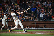 San Francisco Giants catcher Buster Posey (28) swings at a pitch against the Pittsburgh Pirates at AT&T Park in San Francisco, California, on July 25, 2017. (Stan Olszewski/Special to S.F. Examiner)