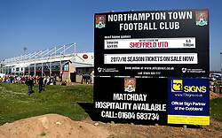 A view outside Sixfields Stadium ahead of the Sky Bet League One fixture between Northampton Town and Sheffield United that could see Sheffield United Promoted - Mandatory by-line: Robbie Stephenson/JMP - 08/04/2017 - FOOTBALL - Sixfields Stadium - Northampton, England - Northampton Town v Sheffield United - Sky Bet League One