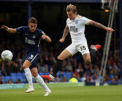 Jason Cummings of Peterborough United gets to the ball ahead of Ben Coker of Southend United to go close to scoring - Mandatory by-line: Joe Dent/JMP - 08/09/2018 - FOOTBALL - Roots Hall - Southend-on-Sea, England - Southend United v Peterborough United - Sky Bet League One