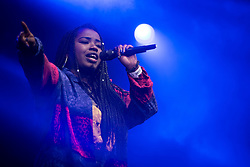 """© Licensed to London News Pictures . 25/08/2014 .  Manchester , UK . Misha B ( Misha Amber Bryan ) performs on the main stage . Manchester Pride """" Big Weekend """" in Manchester . Photo credit : Joel Goodman/LNP"""