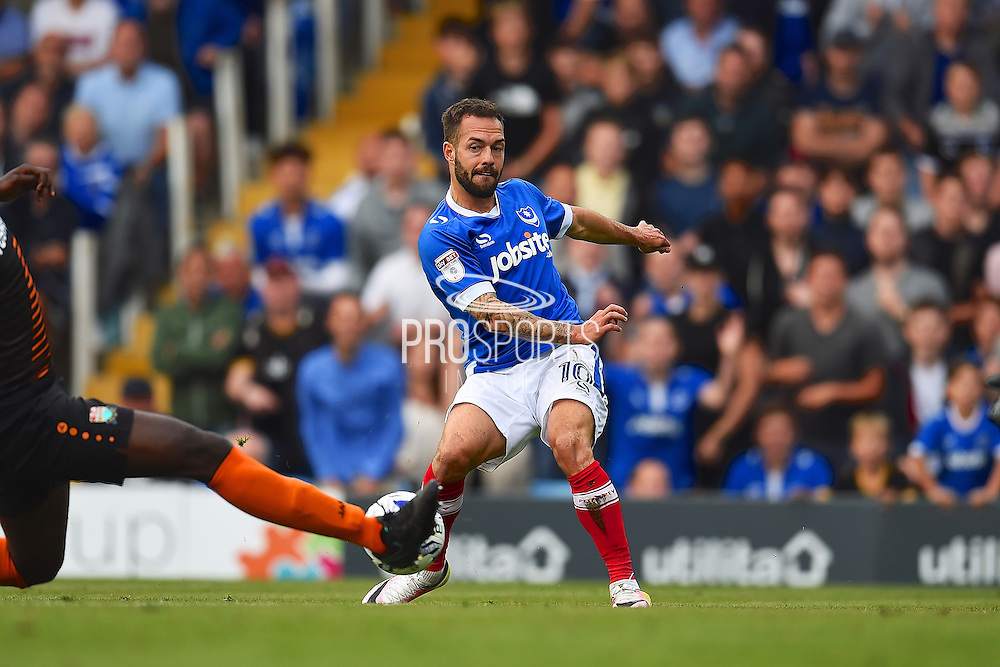 Portsmouth Milan Lalkovic crosses the ball during the second half  during the EFL Sky Bet League 2 match between Portsmouth and Barnet at Fratton Park, Portsmouth, England on 24 September 2016. Photo by Ian  Muir. during the EFL Sky Bet League 2 match between Portsmouth and Barnet at Fratton Park, Portsmouth, England on 24 September 2016. Photo by Ian  Muir.