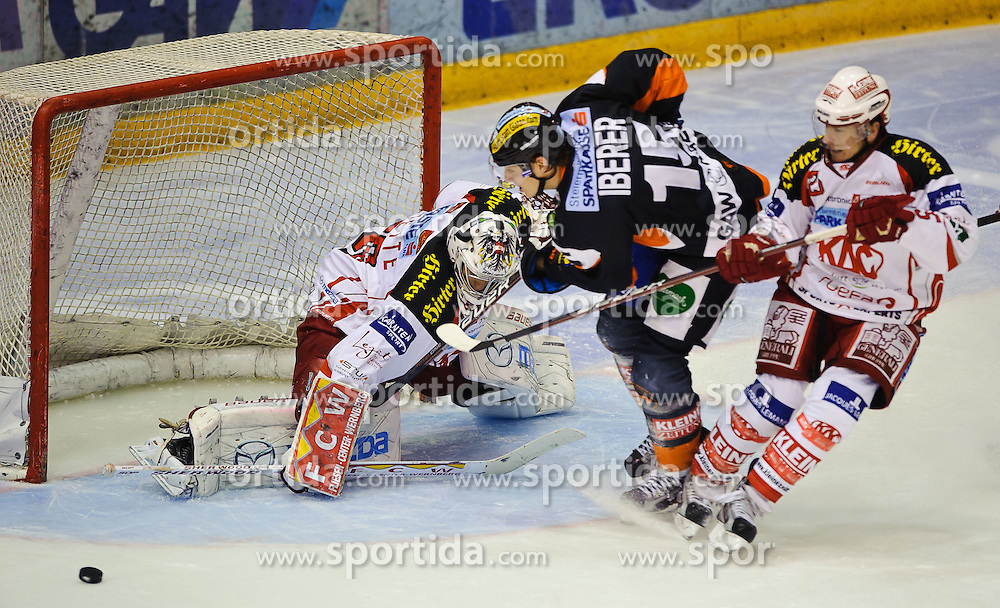 28.10.2011, Eisstadion Liebenau, Graz, AUT, EBEL, Graz 99ers vs EC KAC, im Bild Matthias Iberer, (99ers, #15), Rene Swette, (KAC, #30) // during the ice hockey game between Graz 99ers and EC KAC at the Eisstadion Liebenau, Graz, Austria, 2011/10/28, EXPA Pictures © 2011, PhotoCredit: EXPA/ S. Zangrando