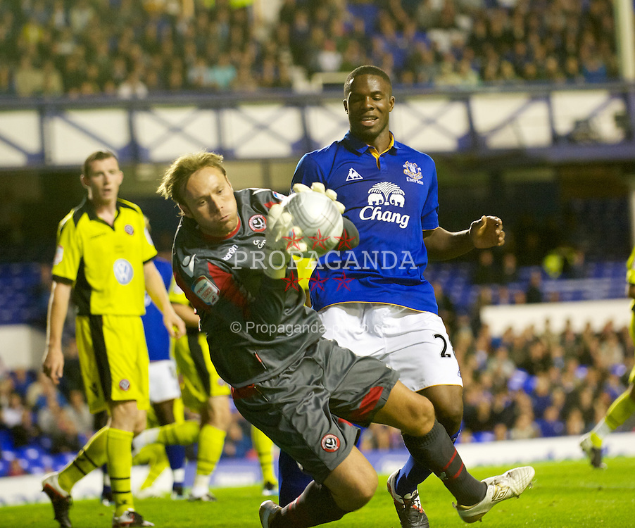 LIVERPOOL, ENGLAND - Wednesday, August 24, 2011: Everton's Victor Anichebe has a close range header saved by Sheffield United keeper Steve Simonsen during the Football League Cup 2nd Round match at Goodison Park. (Pic by Dave Kendall/Propaganda)