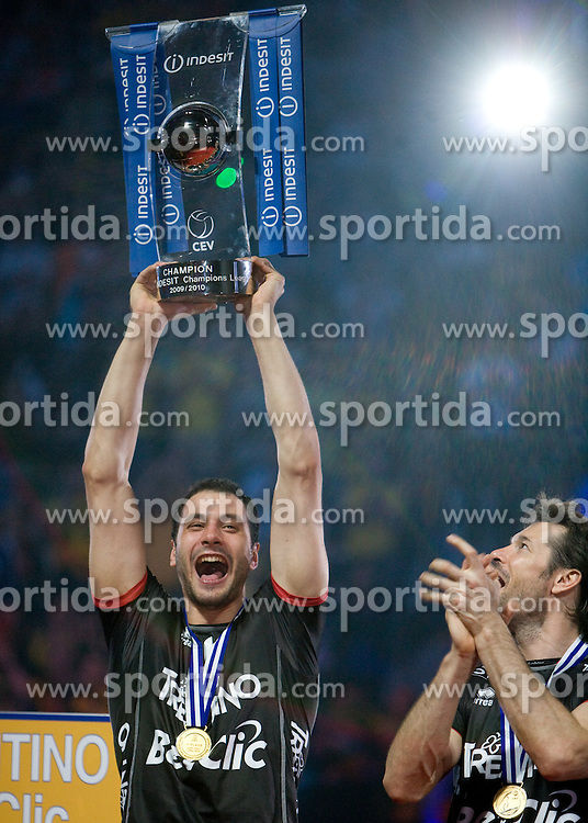 Matey Kaziyski  of Trentino  celebrates with a Trophy at final ceremony after the  final match of CEV Indesit Champions League FINAL FOUR tournament between Dinamo Moscow, RUS and Trentino BetClic, ITA on May 2, 2010, at Arena Atlas, Lodz, Poland. Trentino defeated Dinamo 3-0 and became Winner of the Champions League. (Photo by Vid Ponikvar / Sportida)