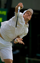 LONDON, ENGLAND - Friday, June 27, 2008: Tomas Berdych (CZE) during his third round match on day five of the Wimbledon Lawn Tennis Championships at the All England Lawn Tennis and Croquet Club. (Photo by David Rawcliffe/Propaganda)