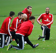 Ashley Williams (R) and the team during the Wales Training at the Vale Resort, Hensol<br /> Picture by Mike Griffiths/Focus Images Ltd +44 7766 223933<br /> 10/11/2015