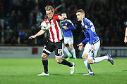Brentford midfielder, Konstantin Kerschbaumer (17) lining up a shot during the Sky Bet Championship match between Brentford and Cardiff City at Griffin Park, London, England on 19 April 2016. Photo by Matthew Redman.