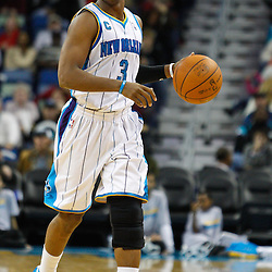 January 3, 2011; New Orleans, LA, USA; New Orleans Hornets point guard Chris Paul (3) against the Philadelphia 76ers during the fourth quarter at the New Orleans Arena. The Hornets defeated the 76ers 84-77.  Mandatory Credit: Derick E. Hingle