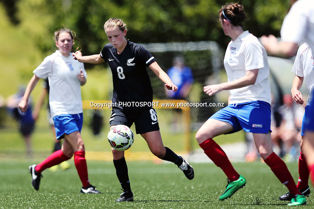 Daisy Cleverley of NZF Development competes against Emily Stotter of Auckland Football. 2014 ASB Women's League football match, Auckland Football v NZF Development at William Green Domain, Auckland, New Zealand. Sunday 23 November 2014. Photo: Anthony Au-Yeung / photosport.co.nz