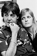 Paul and Linda McCartney at Soho Square office 1980