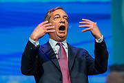 Brexit Party event<br /> Nigel Farage and Ann Widdecombe in Peterborough for a rally with the Brexit Party&rsquo;s Eastern region European election candidates. <br /> at King's Gate Conference Centre, Peterborough, Great Britain <br /> 7th May 2019 <br /> <br /> Nigel Farage - leader <br /> <br /> <br /> <br /> Photograph by Elliott Franks