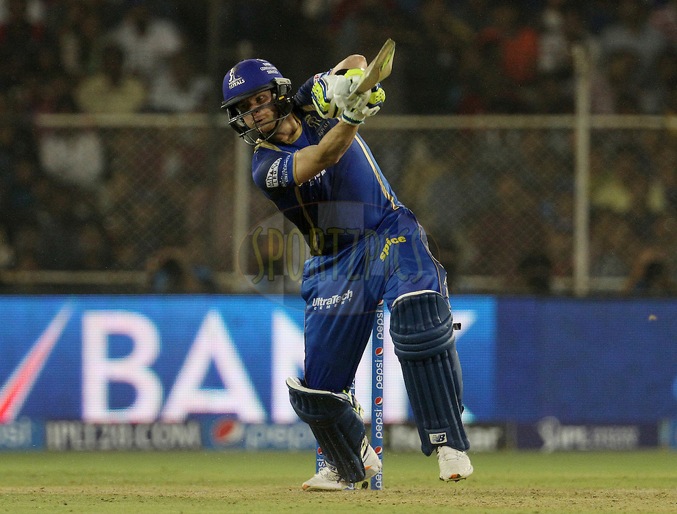 Rajasthan Royals captain Steven Smith plays a shot during match 9 of the Pepsi IPL 2015 (Indian Premier League) between The Rajasthan Royals and The Mumbai Indians held at the Sardar Patel Stadium in Ahmedabad , India on the 14th April 2015.<br /> <br /> Photo by:  Vipin Pawar / SPORTZPICS / IPL