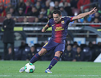 16.01.2013 Barcelona, Spain. Spanish Cup, quarter-final first leg. Picture show Xavi Hernandez in action during game FC Barcelona v Malaga at Camp Nou.