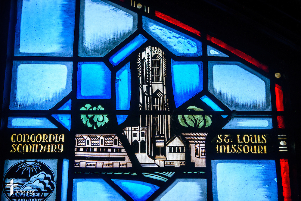 Stained glass at Luther Memorial Chapel depicts Concordia Seminary, St. Louis, on Friday, Jan. 29, 2016, in Shorewood, Wis. LCMS Communications/Erik M. Lunsford
