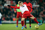 Liverpool midfielder Xherdan Shaqiri (23) warming up during the Premier League match between Liverpool and Everton at Anfield, Liverpool, England on 4 December 2019.