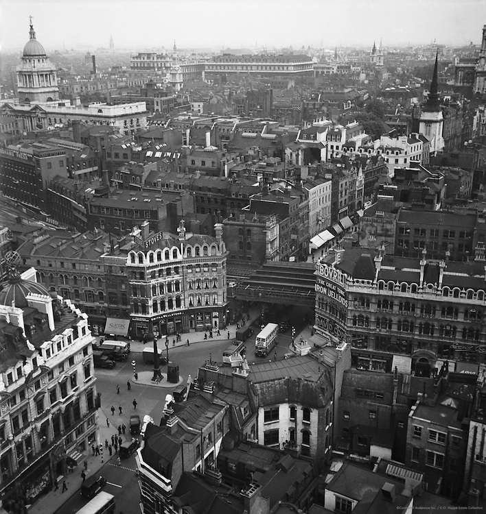 Ludgate Circus from St. Bride's Steeple, London, 1937