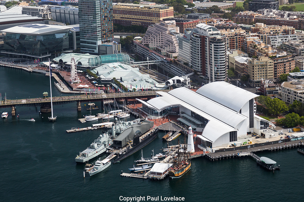 Open Sydney presented by Sydney Living Museuems. This event every year allows Sydneysiders to visit 40 of the city's most significant buildings and spaces across the CBD. View of Australian National Maritime Museum  from One International Towers, Sydney.