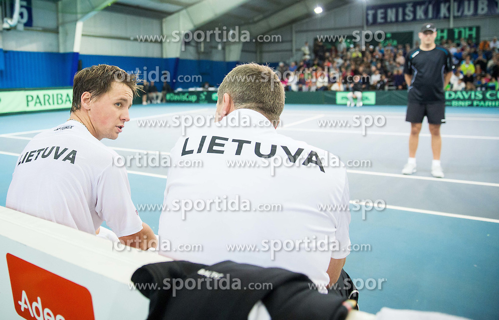 Richard Berankis and Rimvydas Mugevicius of Lithunia during Davis Cup Slovenia vs Lithuania competition, on October 30, 2015 in Kranj, Slovenia. Photo by Vid Ponikvar / Sportida